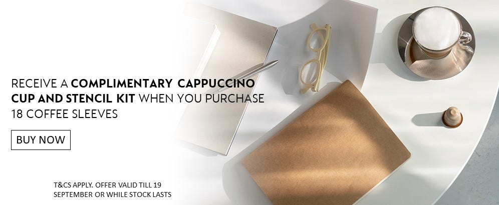COMPLIMENTARY CAPPUCCINO CUP AND STENCIL KIT